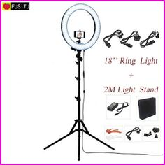"""Fusitu 18"""" RL-18 Outdoor Dimmable Photo Video LED Ring Light Kit with 2M Tripod Light Stand for DSLR Camera Smartphones (32740471445)  SEE MORE  #SuperDeals"""