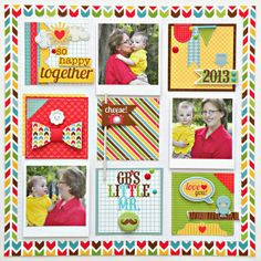 """#papercraft #scrapbook #layout    Doodlebug Day To Day """"Happy Together"""" Layout by Stephanie Buice."""