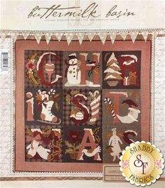"""Decorate your home for the holidays with this stunningly beautiful Merrie Christmas Wall Hanging designed by Buttermilk Basin! This quilt features candy canes, a snowman, ornaments, mittens, an angel, an ice skate, a Christmas tree, Santa and so much more! Finishes to 42"""" x 42""""."""