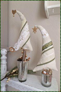 ��2 Tannenbäume aus Stoff��Weihnachten��Advent��Dekoration��Shabby
