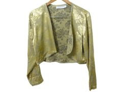 90s Crop floral Gold satin Jacket M by flabbergastbanana on Etsy, $24.00