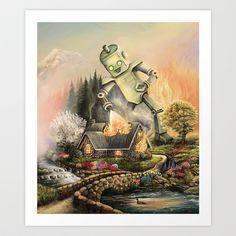 Firelight Cottage Art Print by Nathan Stillie - $15.00