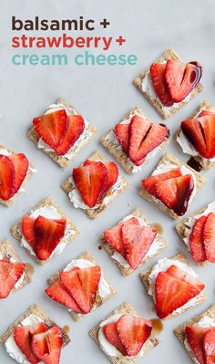 Red, white and tasty. Fresh strawberries and cream cheese with a balsamic drizzle all on a Triscuit. We call it balstrawcheescuit. Triscuit. Made for More.