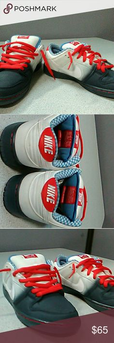 Nike SB shoes dunk low custom Awesome color pattern.  Red white and grey exterior. Light blue and white interior. Men's size 10. Very much the best dunk low s on the planet right now.. Never worn. Premium dunk low. Customized to my liking. Love them however I need to pay bills.sb dunk low. 2017 Nike Shoes Sneakers