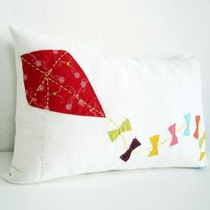 Sukan / Hand Embroidered  Kite Linen Pillow cover by sukanart, $50.00 - ETSY; <3<3<3 @