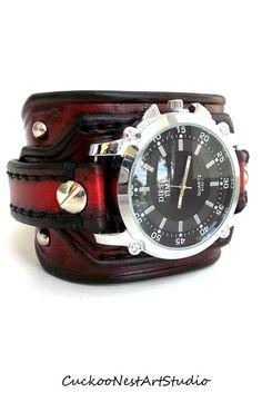 Red and Black Watch, Men's watch, Leather Wrist Watch, Leather Cuff, Bracelet Watch