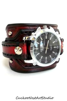 Red and Black Watch, Men's watch, Leather Wrist Watch, Leather Cuff, Bracelet Watch