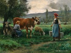 """Milking Time"" by Julien Dupre. I like paintings of rural life in times gone by. Barbizon School, Seascape Art, Cow Art, French Artists, Outdoor Life, Artist Art, Farm Life, Monet, Painting & Drawing"