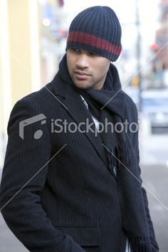 African American Young Man Fashion Model in Winter, Downtown Royalty Free Stock Photo