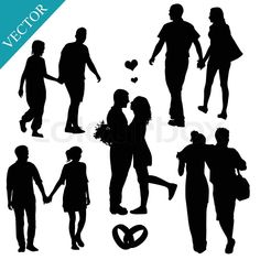 Hi-res stock vector Romantic couples silhouettes on white background, vector illustration. Discover the amazing world of our 50.000 photographers & graphic designers worldwide.