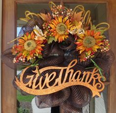 Give Thanks Fall Deco Mesh Wreath