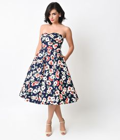 Unique Vintage 1950s Style Navy Floral Darcy Swing Dress