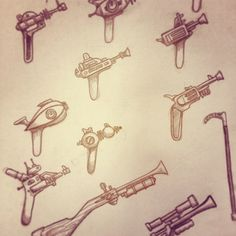 www.RivalVinyl.com  Cog Rayguns and accessories concepts  Rivals Steampunk Designer Toys