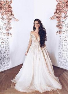 White Long Sleeves V Neck Tulle Long Prom Dresses Lace Appliques Evening Dresses For Wedding - Lace Wedding Dresses Long Sleeve Evening Dresses, Prom Dresses Long With Sleeves, Dress Long, Lace Wedding Dress With Sleeves, Sleeved Wedding Dresses, Ivory Dresses, Dresses Uk, Dream Wedding Dresses, Wedding Gowns