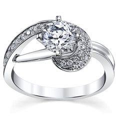 14K White Gold Diamond Engagement Ring Setting 1/4 Cttw.