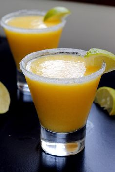 Frozen Pineapple Mango Margarita! #Food #Drink!!                                                Ingredients:   1 1/2 cups frozen mango chunks 1 1/4 cups frozen pineapple chunks 1/4 cup simple syrup 1/2 cup freshly squeezed clementine juice (about 6 clementines) Juice of 1 large lime 8 ounces silver tequila Ice cubes as needed (about 10).  Directions:  Add all the ingredients with the exception of the ice to the blender and blend until smooth. Add ice until you reach desired consistency…