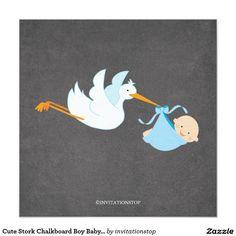 Cute Stork Chalkboard Boy Baby Shower Invitatation 5.25x5.25 Square Paper Invitation Card