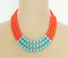 Color Block Necklace Turquoise Blue Howlite and Tangerine Orange Dyed Jade Beads - Preppy, Statement Necklace, Multi Strand. $62.00, via Etsy.