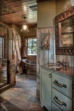 I love log homes. They're cozy and rustic and absolutely gorgeous. Kitchens usually hold the biggest wow factor for me. I did a post a while back featuring some of my favorite log cabin kitchens. As usual, I've scoured the web to find … Rustic Bathrooms, Dream Bathrooms, Beautiful Bathrooms, Log Cabin Bathrooms, Log Cabin Kitchens, Modern Bathroom, Bathrooms Online, Western Bathrooms, Blue Bathrooms