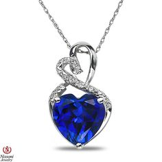 Ladies Diamond Accent Heart Pendant w/ Created Sapphire w/ Chain Sterling Silver: Jewelry Engagement Bridal Anniversary Wedding Birthdays Gifts Colorstone Diamond Jewelry Womens Mens Unisex Diamond Jewelry Anniversary Wedding Birthdays Gifts Colorstone Jewelry Black and Blue Diamonds are color-treated