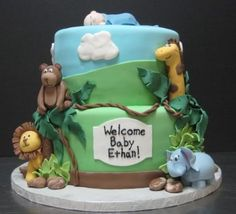 Baby boy shower : baby shower cakes baltimore and baby shower cakes cincinnati Torta Baby Shower, Safari Baby Shower Cake, Baby Shower Cakes For Boys, Baby Shower Niño, Baby Boy Cakes, Baby Shower Favors, Baby Shower Gifts, Cute Baby Shower Ideas, Baby Shower Themes