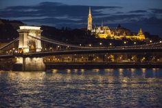 Chain Bridge and Fisherman's Bastion at night, Budapest.