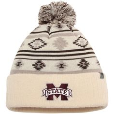 Mississippi State Bulldogs Top of the World Women's Aztech Cuffed Pom Knit Hat - Cream - $22.99