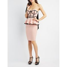 Charlotte Russe Two-Tone Strapless Peplum Dress ($28) ❤ liked on Polyvore featuring dresses, light pink, body con dresses, strapless bustier, white peplum dress, sexy dresses and white body con dress