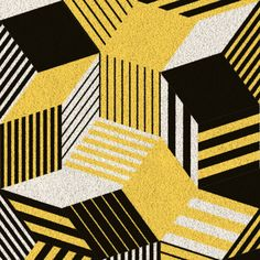 Zoom sur tapis Penrose Sun, motif graphique et géométrique jaune, blanc, noir, des couleurs vives et pétantes qui réveillent l'intérieur, édition Bazartherapy