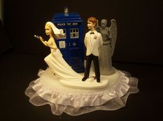 Doc Who Running Bride Funny Wedding Cake Topper Who Bride and Groom Angel