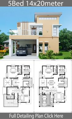 Home Design Plan with 5 Bedrooms - House - Architektur Duplex House Plans, Bungalow House Design, Bedroom House Plans, Small House Design, Dream House Plans, House Floor Plans, Design Home Plans, Home Building Design, Building Plans