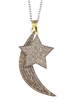 Diamond Thick Moon & Star Necklace