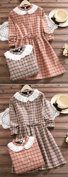 [Newchic Online Shopping] 48%OFF Women Plaid Vintage Dresses