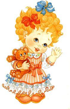 Рисунок девочка с мишкой