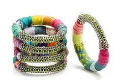 Swarovski Crystal Boho Bracelets made from Indian SarI textiles!