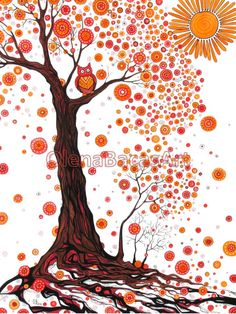 "Tree Large ORIGINAL Painting Illustration Owl Red Orange Brown Black Fall Autumn White 18""x24"" Kids Nursery Children. $60.00, via Etsy."
