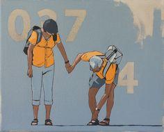 ANONIMO 3  Encontrar la identidad personal en un número, reconocerse en códigos arbitrarios para distinguirse en rasgos vacuos, afiliados a la indefinición.  'Anónimos' es una serie de 60 obras que explora la relación entre las personal reales y su presencia en la escena virtual en que viven sumergidos: anónimos controlados anónimamente.  Óleo sobre lienzo 24x30 Art, Personal Identity, Oil On Canvas, Scene, Canvases, Scouts, Art Background, Kunst, Performing Arts