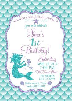 ON SALE Baby Mermaid Birthday Invitation, Mermaid Party Invite Under the sea mermaid glitter first birthday 1st birthday by SLDESIGNTEAM on Etsy https://www.etsy.com/listing/270801221/on-sale-baby-mermaid-birthday-invitation