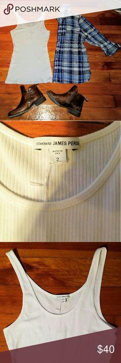 NWT James Perse white ribbed tank NWT James Perse white ribbed thin strapped tank top. James Perse Tops Tank Tops