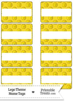 Yellow Lego Theme Name Tags from PrintableTreats.com