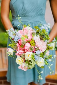 flowers for  this summer bouquet are....peonies, dahlias, larkspur, tulips, queen anne's lace, scabiosa pods, and bupleurum