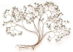 This stunning wall sculpture featuring shiny brass and copper wire will add beauty and elegance to your home. Its graceful lines and large size would make it a special addition to a large wall. This g