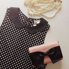 {F21} Polka Top Peter Pan Collar Blouse Sleeveless polka dot blouse with a slight high low hem and a scalloped collar.  Forever 21 exclusive collection. Forever 21 Tops Blouses