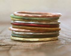 Stacking Skinny Rustic Rings - Silver Gold Copper Patina