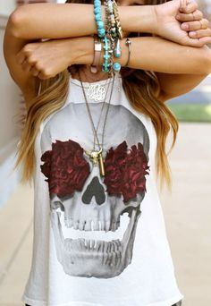 skull and flowers tank top
