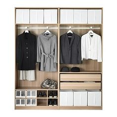 PAX Wardrobe, white stained oak effect, Auli Ilseng - 200x44x236 cm - IKEA