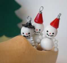 Little Beaded Snowman Ornament Charm Christmas Winter by variation, $8.00