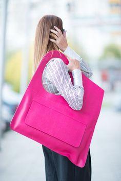 Fuchsia Leather Tote Bag Premium Genuine Leather by EUGfashion
