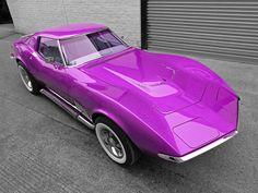 purple corvette | Purple 1968 Corvette C3 From Above Photograph