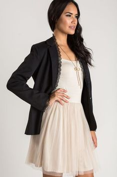 Shop the Stella Black Lace Trim Blazer - boutique clothing featuring fresh, feminine and affordable styles. Cute Dresses, Beautiful Dresses, Casual Dresses, Dresses For Work, Formal Dresses, Flowy Bridesmaid Dresses, Cute Boutiques, Affordable Fashion, Boutique Clothing